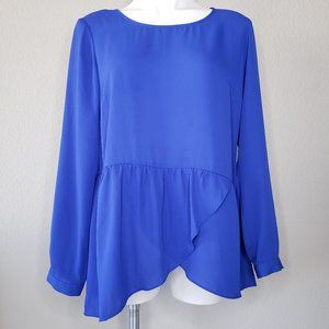 NY Collection | Asymmetrical Classic Blue Top XL